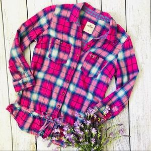Hollister Medium Pink Plaid Peplum Top
